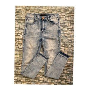 Refuge Acid Wash Fringe Bottom Skinny Jeans